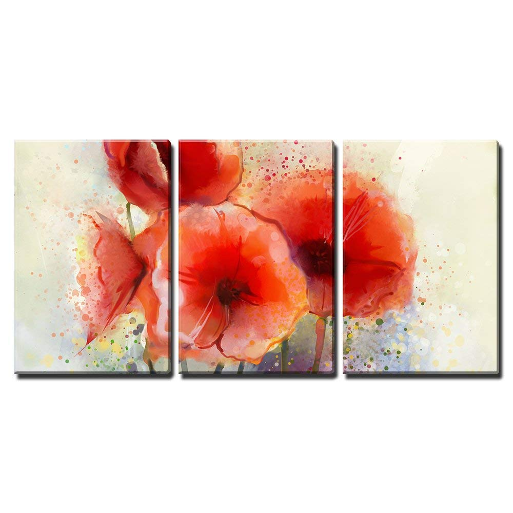 Water Color Red Poppy Flowers Painting X3 Panels Canvas Art Wall26