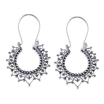 Silverly Women's .925 Sterling Silver Indian Filigree Round 27 mm Hoop Ethnic Earrings yc2fn