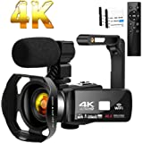Camcorder 4K HD 48MP Video Camera 18X Digital Zoom IR Night Vision YouTube Camcorder with Portable Handheld Stabilizer,Microp