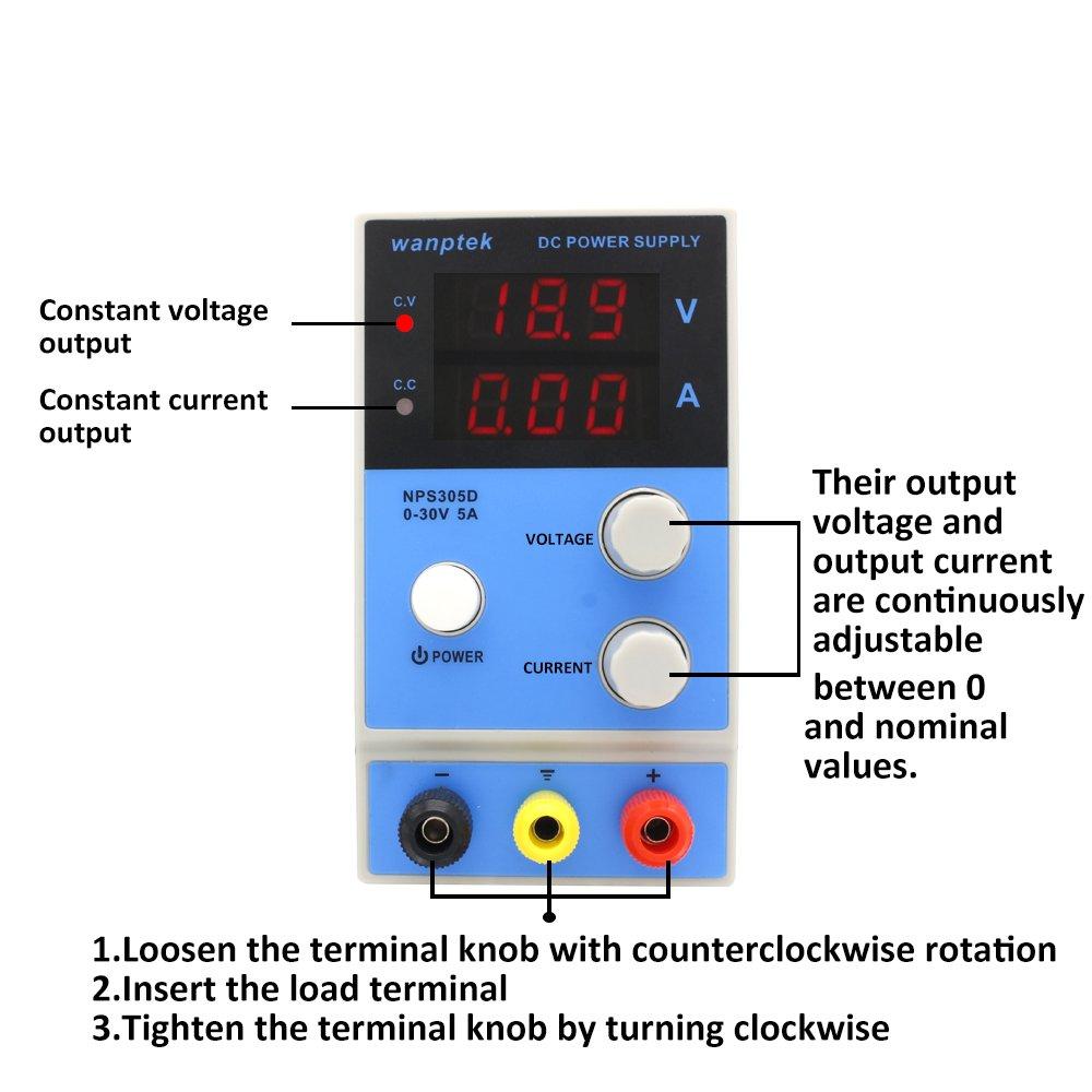 KKmoon DC Schaltnetzteil 0-30V 5A Einstellbarer Digitalanzeige f/ür Labs Schulen und Produktionslinien Blau