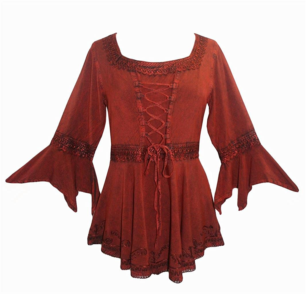f1b76e769f Agan Traders 301 NB Medieval Gothic Gypsy Corset Handkerchief Flare Blouse  Tunic at Amazon Women s Clothing store