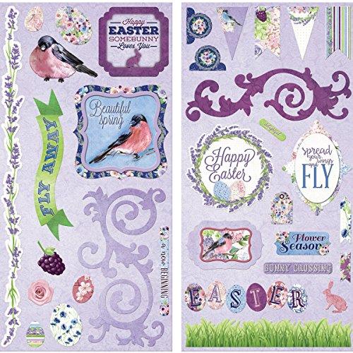 Bo Bunny 19515383 Secret Garden Self-Adhesive Chipboard, Multicolor