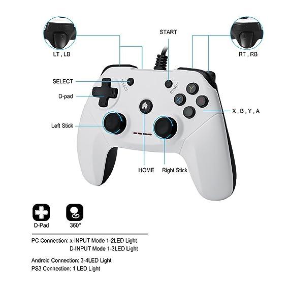 Amazon.com: Wired Game Controller PS3 Gamepad Joystick Joypad ...