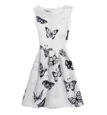 7d685a76c0e7b Ba Zha Hei Kidswear Fille Chic Élégant Imprimer Princesse Robe - Robe d été  sans