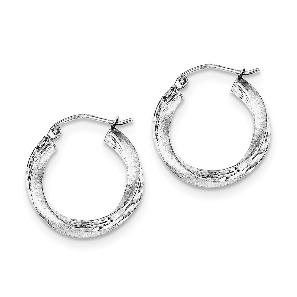 Sterling Silver Rhodium-plated Satin Finished D//C Twisted Hoop Earrings