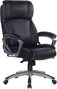Bosmiller Office Chair High Back Computer Chair Ergonomic Desk Chair, PU Leather Adjustable Height Modern Executive Swivel Task Chair with Padded Armrests and Lumbar Support,Black … (9078-BLACK)