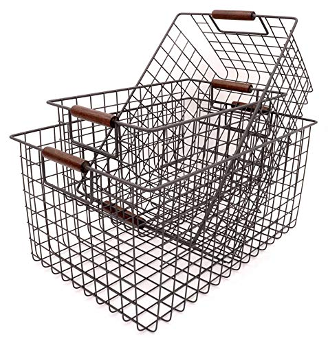 KeKaBox Set of 3 Metal Wire Nesting Storage Baskets with Wood Handles by KeKaBox (Image #1)