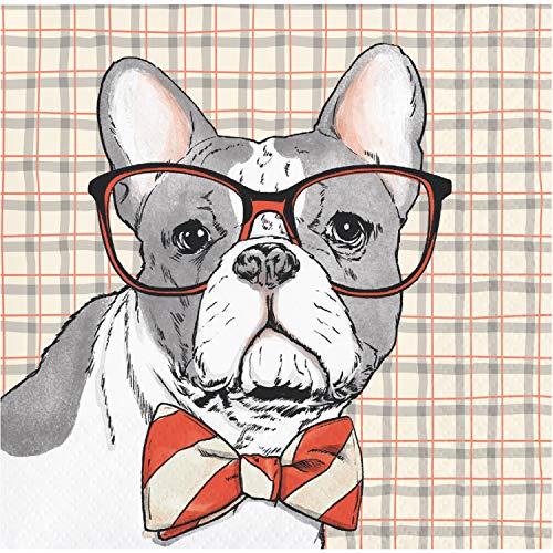 Dapper Animals Bulldog Beverage Napkins by Elise, 48 ct