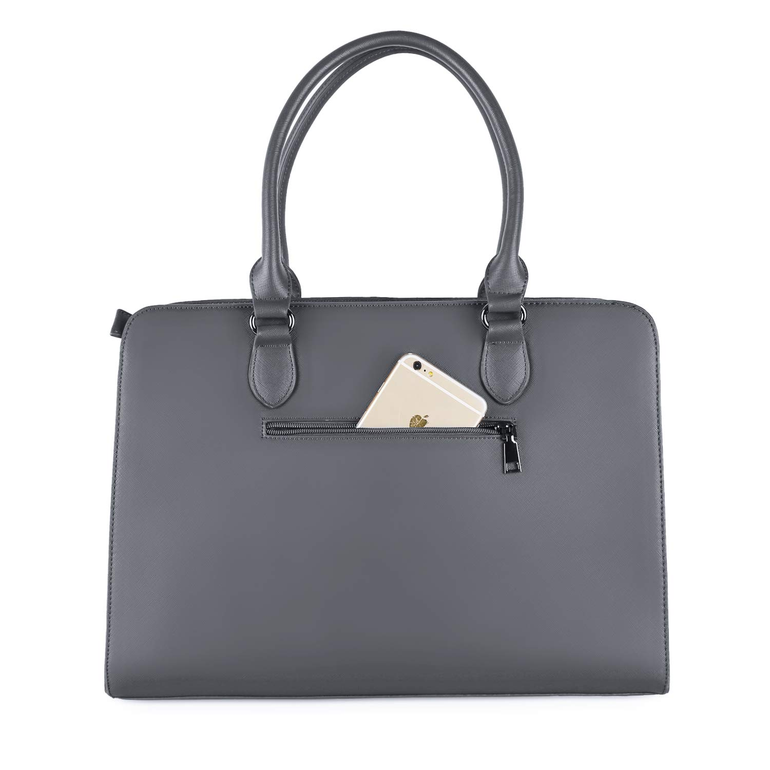 Premium PU Leather Large Capacity with 3 Layer Compartments Business Work Travel Shoulder Briefcase Handbag Space Gray MOSISO Laptop Tote Bag for Women Up to 15.6 Inch