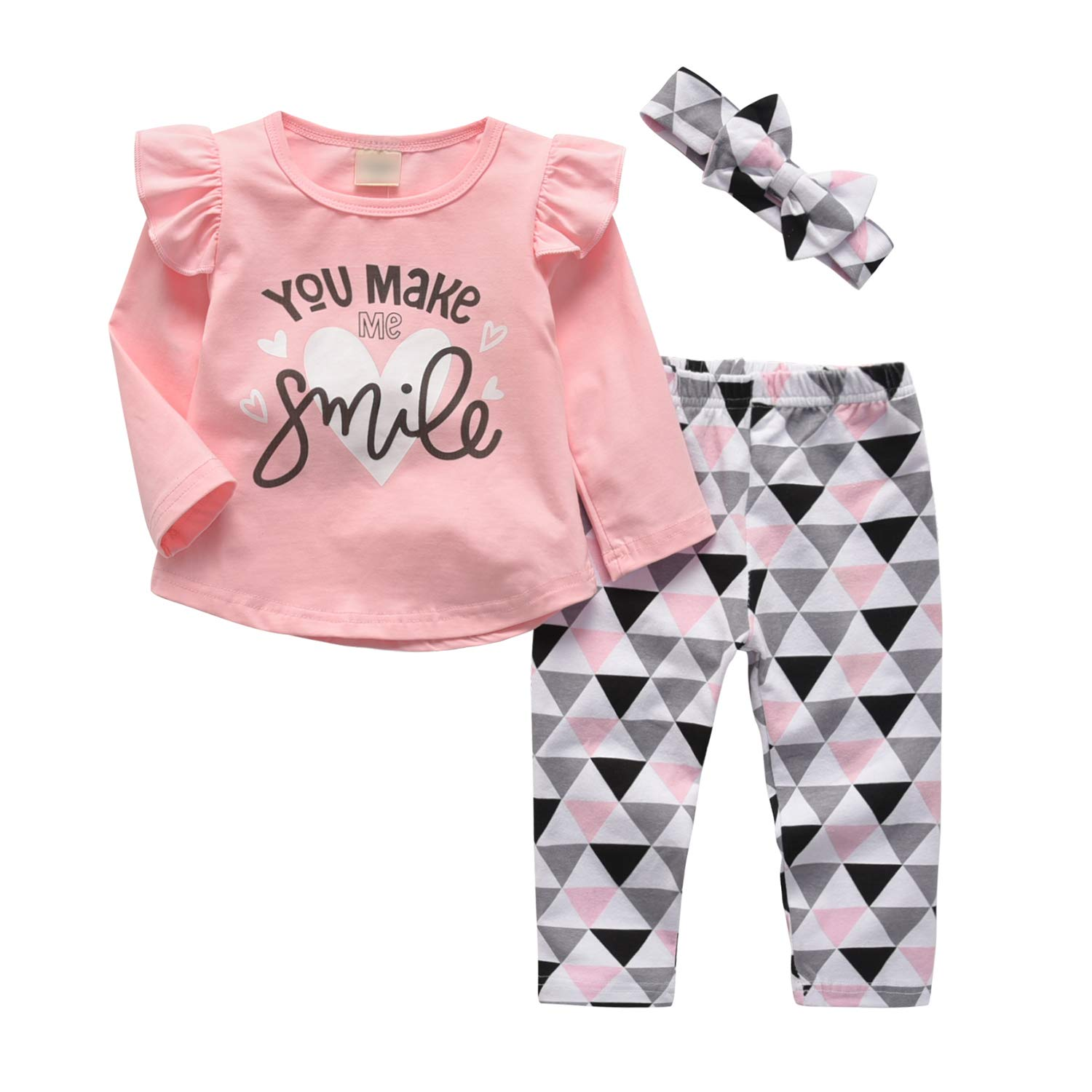 4c28fc165 3 Pcs Baby Girl Clothes Long Sleeve Letter You Make Me Smile Tops Geometric  Pants and Headband Outfit Set