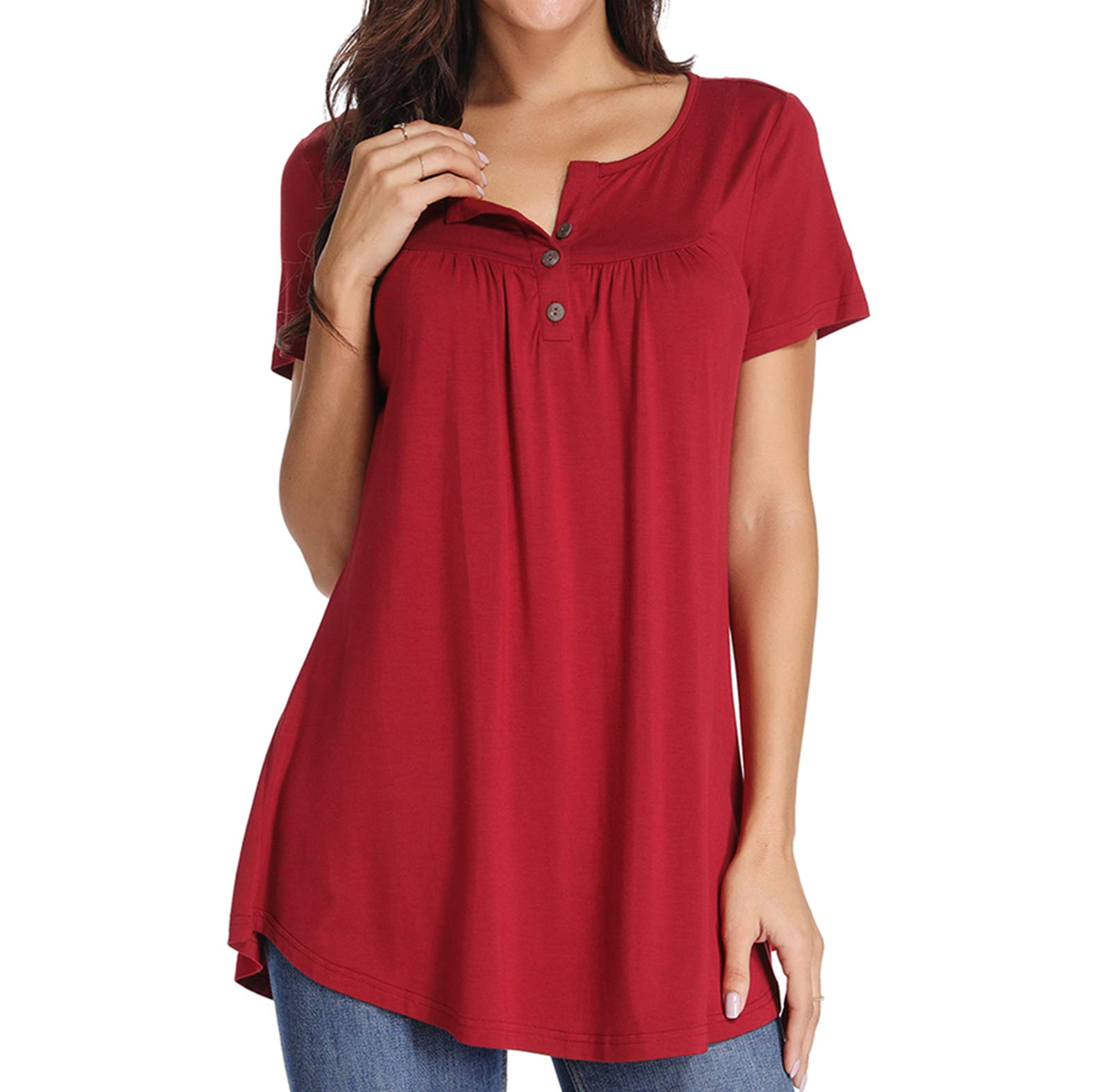 Xpenyo Women Short Sleeve Tops Henley Shirts V Neck Blouse Button Up Tunic Casual Tops