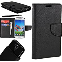 [World Acc] For Alcatel Zip Case PU Leather Flip Cover Folio Book Style Pouch Card Slot Wallet (Black/Black)