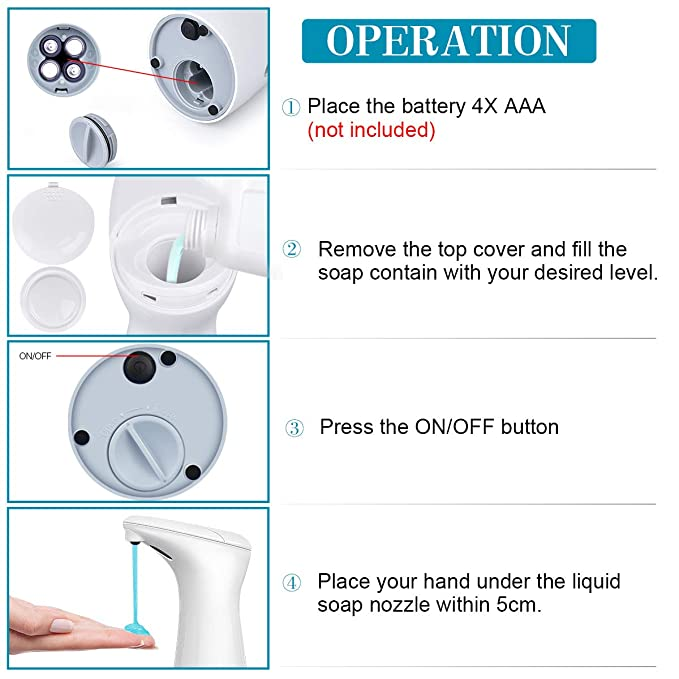 Amazon.com: AUKUN Automatic Soap Dispenser, Touchless Hand Free Liquid Dish Soap Dispenser Bathroom & Kitchen, Upgraded Waterproof Base & IR Sensor …