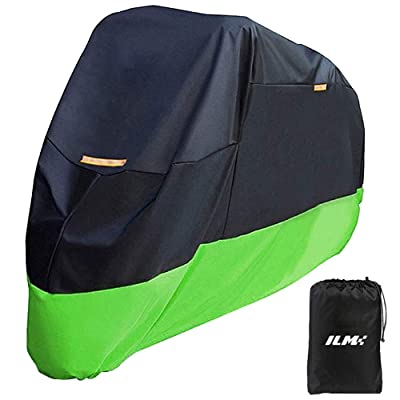 ILM Motorcycle Cover Heavy Duty 210D Oxford Waterproof Sunblock Dustproof Outdoor XXXL Fit for Harleys Davidson Honda Suzuki (210D, Green): Automotive
