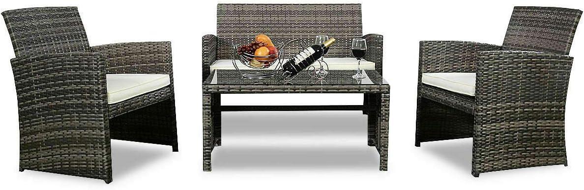 4 Pcs Rattan Patio Furniture Set Premium Mix Gray Wicker Outdoor Lawn Cushioned