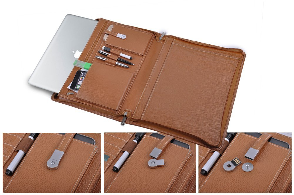 Leather Laptop Carrying Case for 13 inch MacBook, with Pad Holder and Magnetic Snap Design USB Flash Drive,Brown