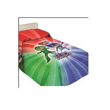 Pjmasks 9638519r611 Colcha Estampada, 100% Algodón, Rojo/Verde/Azul, 40