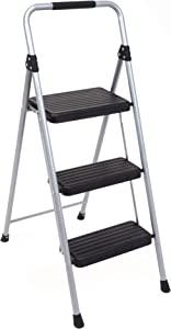 Topfun Folding 3 Step Ladder Lightweight Steel Step Stool Sturdy Anti-Slip Wide Platform with PVC Handgrip Easy-to-Carry Ladder Fully Assembled Multi-Use Ladder for Home and Office (3 Step)
