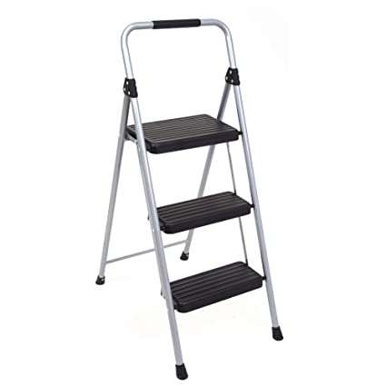 Swell Topfun Folding 3 Step Ladder Lightweight Steel Step Stool Sturdy Anti Slip Wide Platform With Pvc Handgrip Easy To Carry Ladder Fully Assembled Evergreenethics Interior Chair Design Evergreenethicsorg