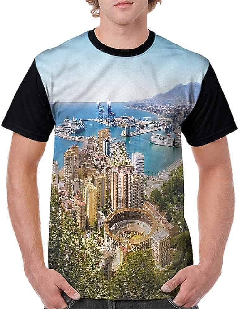 Vintage T-Shirt,Aerial View of Malaga Fashion Personality Customization