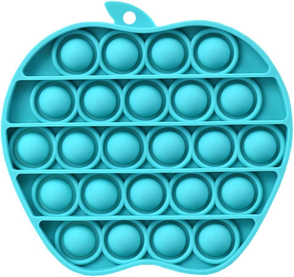 Dobor Push Pop Bubble Fidget Sensory Toy,Push Pop Fidget Toy,Bubble Pop Fidget Toy,Push Pop Bubble Sensory Fidget Toy,Great Novelty Gifts for Girls Boys Kids Adults (Apple-Cyan)