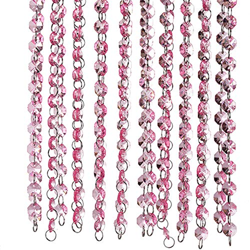 33 Feet Hot Pink Beaded Curtain Gorgeous Acrylic Crystal Curtain Beads for a Weeding, Party, Christmas, Thanksgiving Decorations/ Lamp Chain for Wedding Tree Decorations (10 (Pink Crystal Chain)