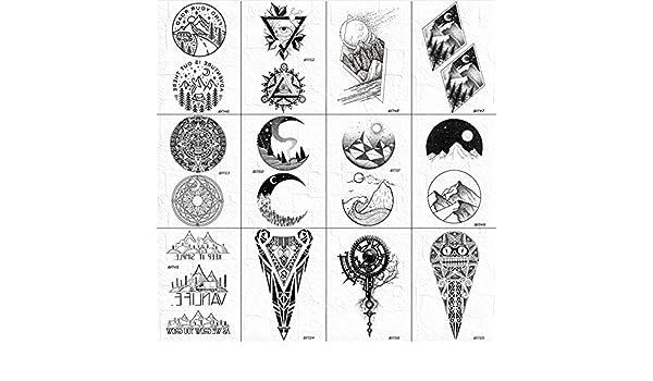 yyyDL Moda hombres cuello Luna tatuajes pegatinas falsas triángulo ...