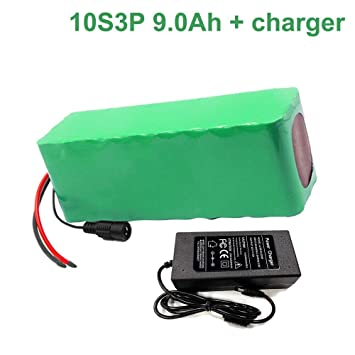 Amazon.com: 36V 9Ah 10S3P 18650 Li-ion Batería Pack E-Bike ...