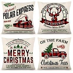 Christmas Farmhouse Home Decor ZJHAI Christmas Pillow Covers 18×18 Inch Set of 4 Black and Red Buffalo Plaid Farmhouse Pillow Covers Holiday Rustic… farmhouse christmas pillow covers