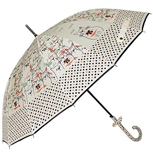 Uniumbrella Polka Dots Cat Animal Print Stick Rain Umbrella, Beige