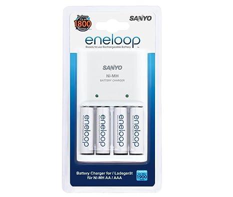 Sanyo Eneloop - Cargador y 4 baterías (AA)