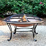 Catalina Creations 100% Solid Copper Fire Pit with Log Grate, Spark Screen, Lift Tool – 40 in For Sale