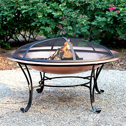 Catalina Creations 100% Solid Copper Fire Pit with Log Grate, Spark Screen, Lift Tool - 40 in