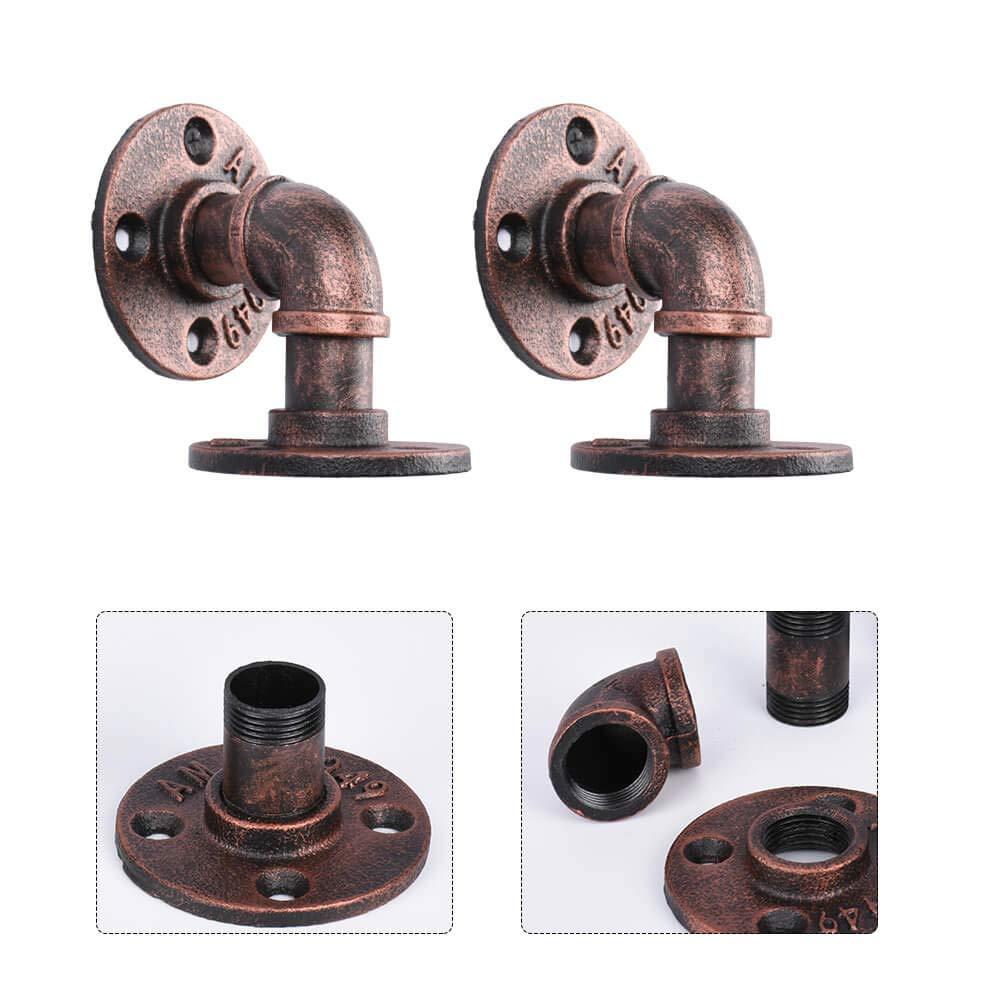 8 x 8 cm Bronze KSS Industrie Retro Regalhalterung 3//4 Vintage Regalhalter Eisen Rohr Wandregal Halterung 2 St/ück