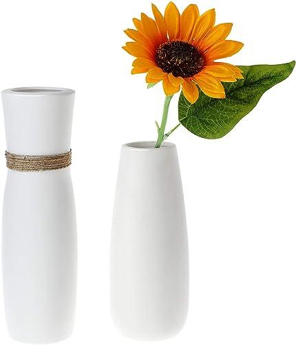 T4U White Ceramic Vases – Set of 2, Modern Elegant Home Decorative Flower Vases Unglazed Tall Unique Bottle for Flowers