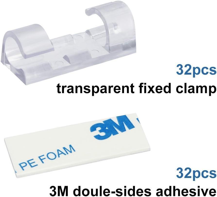 Abrazadera de Cables para Cable de USB Cargador GOLRISEN Clip Cable 32 unids Organizador de Cables con Adhesivo Transparente TV Red Sujeta Cables Pared para Varios Cables o para Cables Gruesos