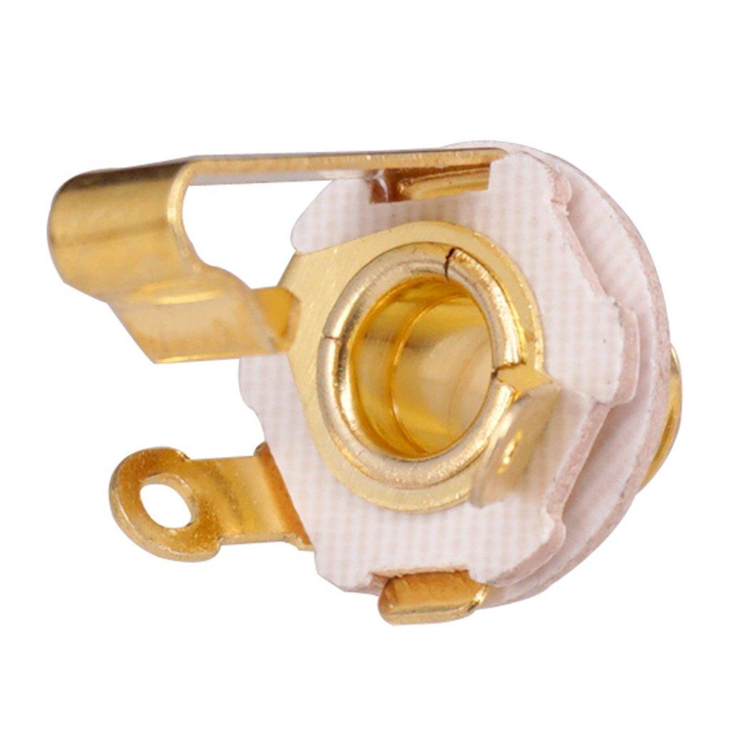 Argento MagiDeal 2Pcs Bass Guitar Access 6.35mm Mono Jack Socket Plug Per Strumento A Corda 6,35 millimetri