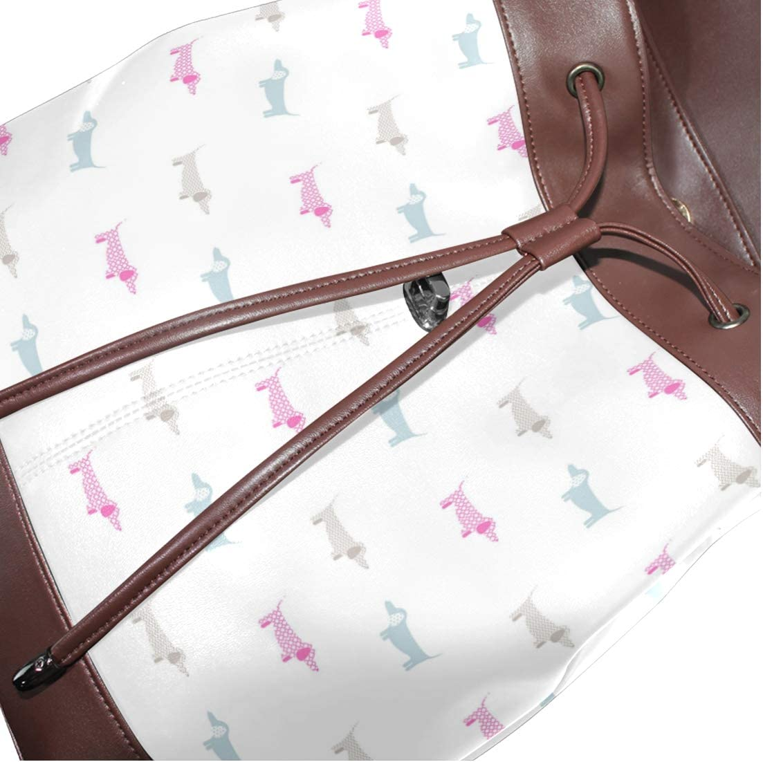 Unisex PU Leather Backpack Dachshund Gifts for Women Pink Print Womens Casual Daypack Mens Travel Sports Bag Boys College Bookbag