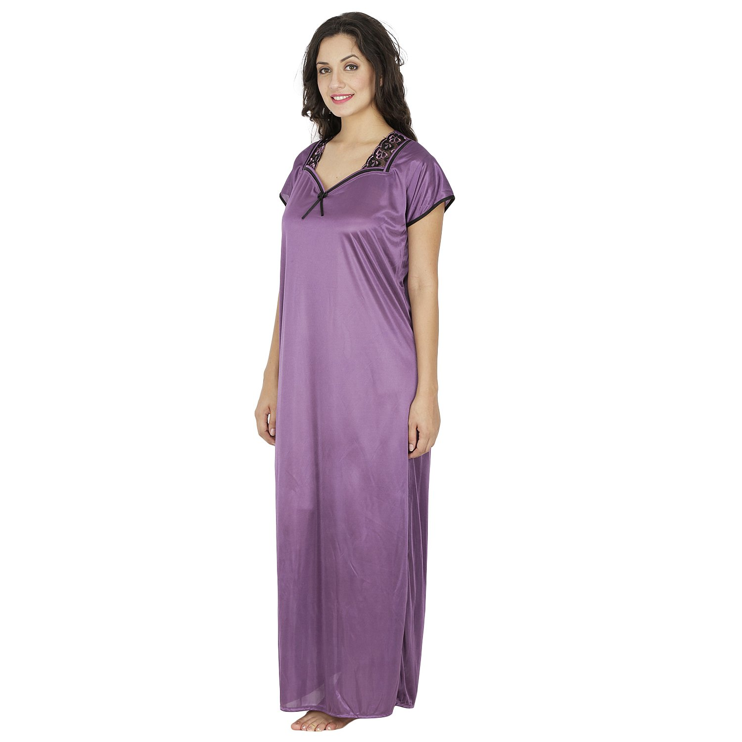 Klamotten Purple Satin Long Nighty  Amazon.in  Clothing   Accessories 5381d00d7