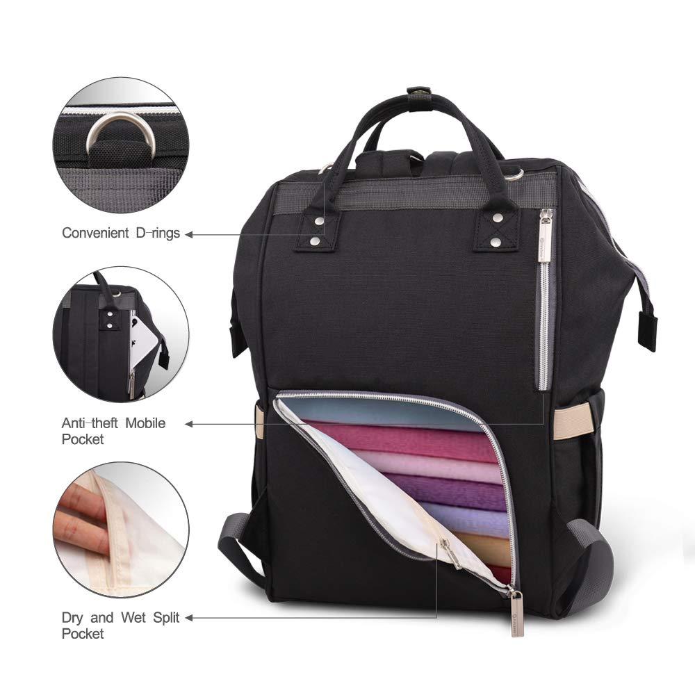 Pipi bear Diaper Bag Backpack Travel Large Spacious Tote Shoulder Bag Organizer Linen Gray