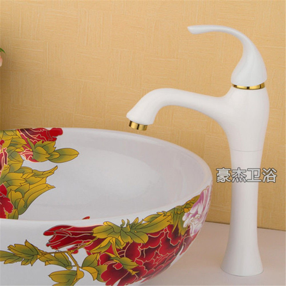 ETERNAL QUALITY Bathroom Sink Basin Tap Brass Mixer Tap Washroom Mixer Faucet Retro white full copper bathroom sink basin and cold water Kitchen Sink Taps