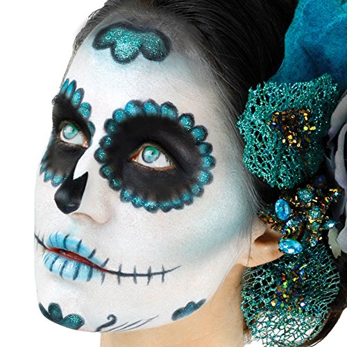 Day Of The Dead Male Makeup Kit (Woochie Day of The Dead Sugar Skull Complete 10pc 23g Makeup Kit, Teal)