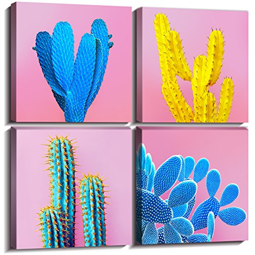 Cactus Decor Home Decorations Wall Art For Living Room Framed Pictures Canvas Prints Colorful Pop Fashion Tropical Desert Plant Girl Pink Blue Modern Contemporary Artwork Set of 4 Piece 12 × 12