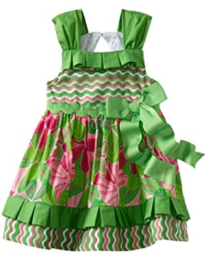 Baby-girls Newborn Little Sprout Pleated Ruffle Sun Dress