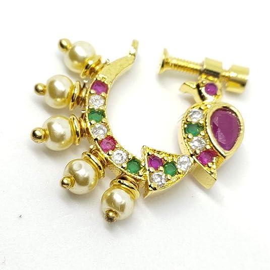 Buy Poorni Fashions Peacock Design Bahubali Style Non Piercing