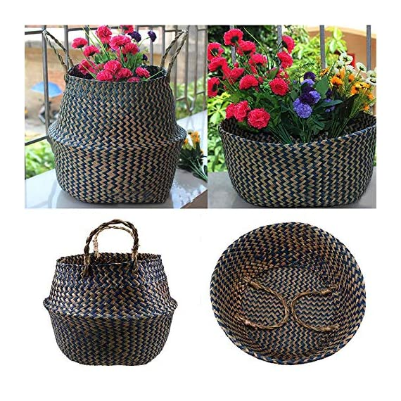 Natural Craft Seagrass Belly Basket for Storage (Color: Zigzag Black), Laundry, Picnic Woven Straw Beach Bag - Plant Pots Cover Indoor Decorative (Plush Criss-Cross Seagrass Black) - HOME DECOR - The basket is gorgeous for plants. The texture is soft and delicate fabric, sturdy enough to hold a heavier potted plant and looks great in the home MULTI PURPOSE - Can be use as a picnic basket, storing toys, magazines totes, towels, blankets. It folds down like a bowl for display purposes and it is practical. The handles make it great to just pick up and use as a beach bag. HANDMADE, ECO FRIENDLY - 100% Handwoven from Sustainably Grown Seaweed + Black Wild-wood Fiber by local artisan in Vietnam with love and care. - living-room-decor, living-room, baskets-storage - 61PlnNagusL. SS570  -