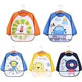 ElecMotive Pack de 5 Impermeable Baberos del Bebé PEVA de Manga Larga Para Bebé Niños Niñas 1 ~4 años (4 Piezas A)