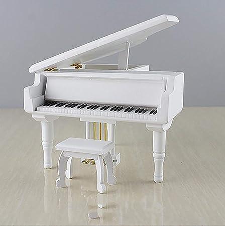 Caja de música de piano de madera vintage-caja de música de simulación de madera regalo artesanía de madera creativa, movimiento plateado más adecuado para cumpleaños/vacaciones/aniversario,White: Amazon.es: Hogar