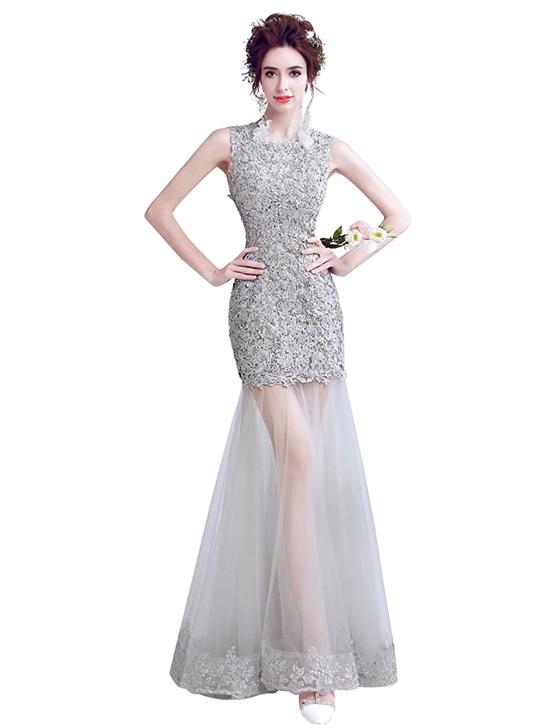 86618489b65 Erosebridal Lace Mermaid Evening Dress Appliques Illusion Formal Gowns  Wedding Guest Dress at Women s Clothing