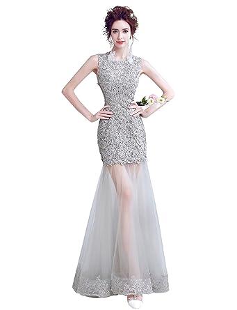Erosebridal Lace Mermaid Evening Dress Appliques Illusion Formal